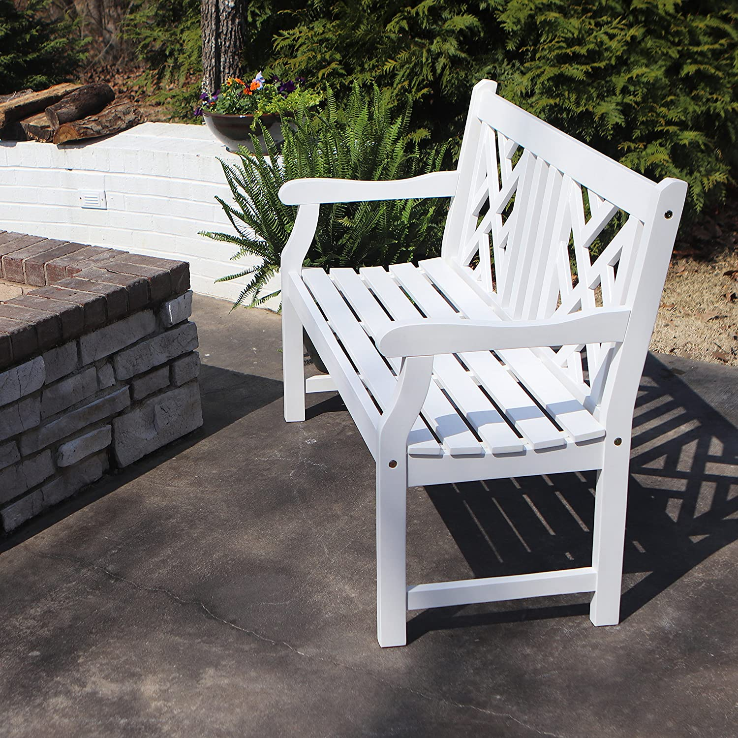 Décor Therapy FR8585 Outdoor Bench, White