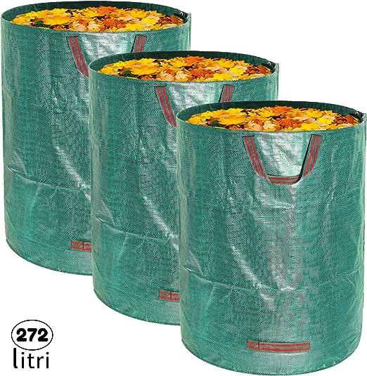 MALOVI 3X Sacos de jardín Profesional para Basura de jardín - 4 Asas, A Prueba de desgarros, Repelente al Agua, Resistente, Reutilizable, Plegable, 272 L 76x67 cm, Polipropileno (PP) 150 gr/m²: Amazon.es: Jardín