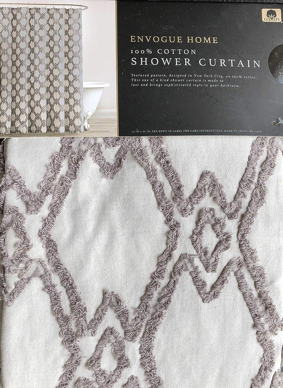 Envogue Fabric Shower Curtain Textured Tufted Geometric Interlinking Diamond Pattern in Darker Gray on a Lighter Gray Background 100% Cotton Luxury