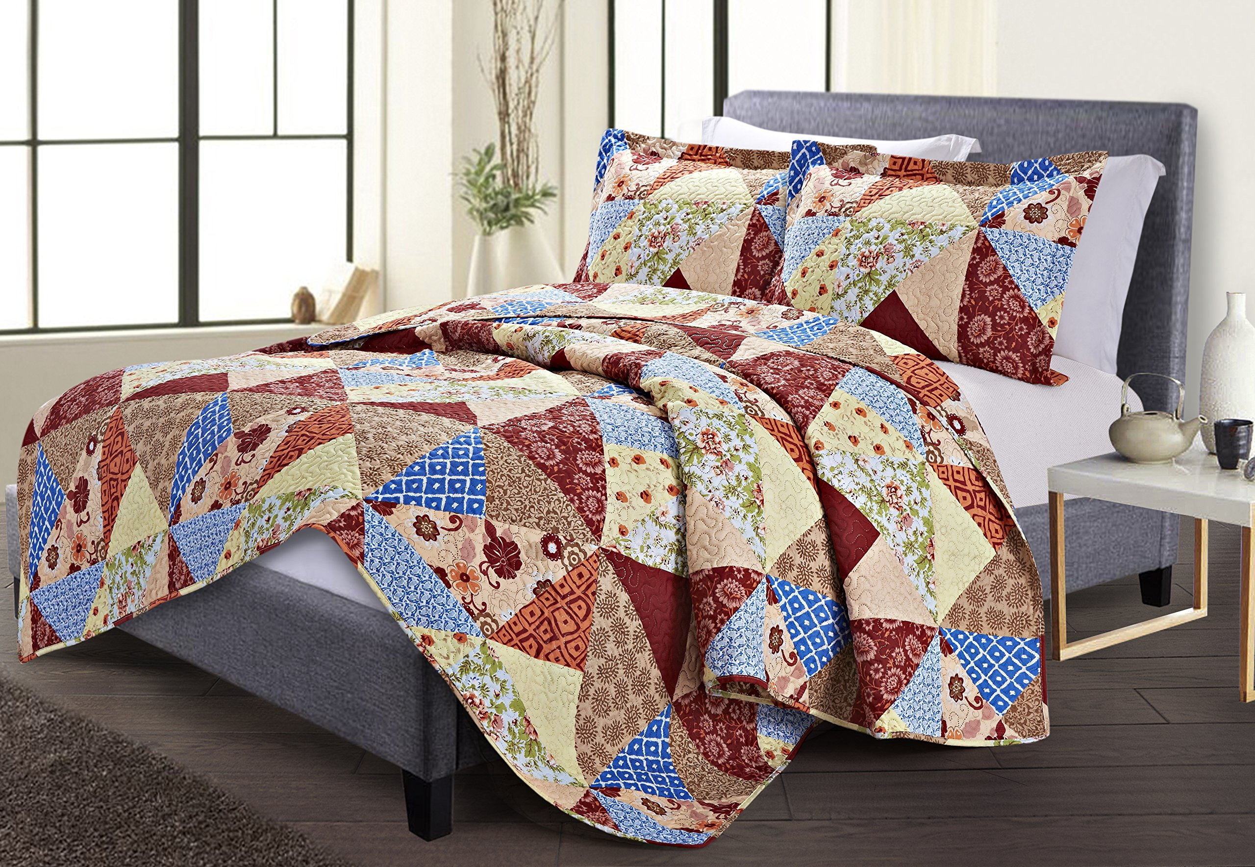 Spirit Linen, Inc Hotel 5th Ave NAPOLI-BROWNFLORAL-K Brown Floral King Napoli Collection 3Pc Quilt Set