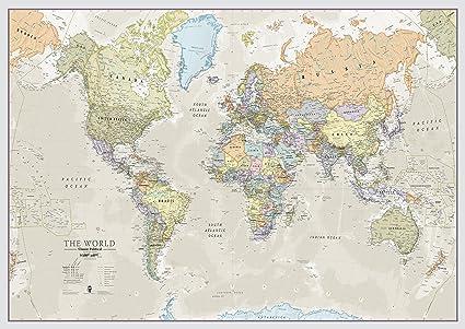 Mapa Clásico del Mundo - Hoja delantera laminada - 118,9 (an) x 84 ...