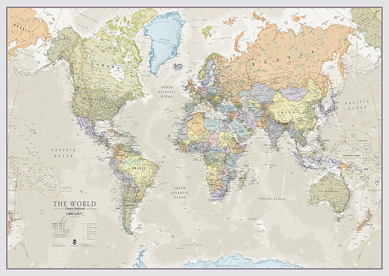 Maps International Classic World Wall Map - Map of The World Poster - Front Lamination - 47 x 33