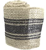 """4"""" X 10' Burlap Ribbon By The Country House Collection (Black Stripe)"""