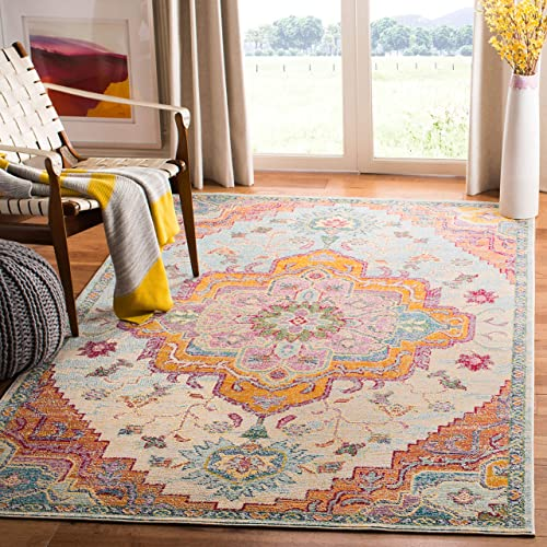 Safavieh CRS501B-1116 Crystal Collection Light Blue and Fuchsia Area Rug