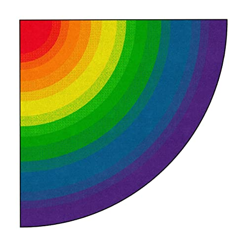 Flagship Carpets Rainbow Area Rug for Kids Classroom, Playroom or Childrens Bedroom, 6ft Across, Quarter Circle, Multi