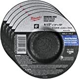 "Milwaukee 5 Pack - 4 1 2 Grinding Wheel For Grinders - Aggressive Grinding For Metal & Stainless Steel - 4-1/2"" x 1/4 x 7/8-Inch 