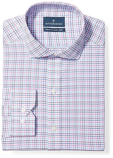4e1a9a87 BUTTONED DOWN Men's Tailored Fit Cutaway-Collar Pattern Non-Iron Dress Shirt,  Berry