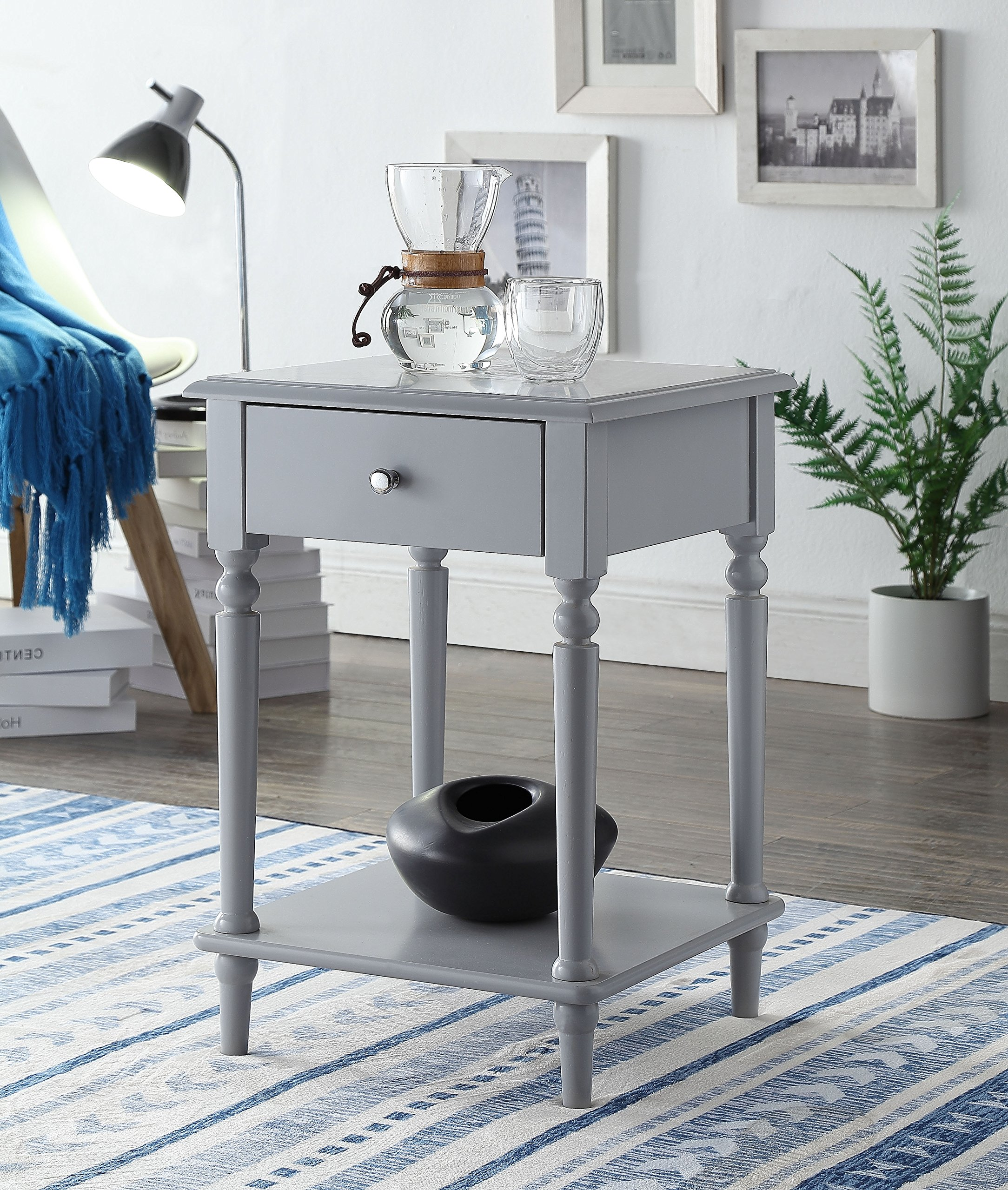 Grey Finish Wooden Turned Legs Nightstand Side End Table with Drawer by eHomeProducts - Color: Grey Material: MDF/Hardwood, Solid wood legs Features turned wood legs with a bottom shelf for extra space - nightstands, bedroom-furniture, bedroom - A1Dt5RdvwuL -