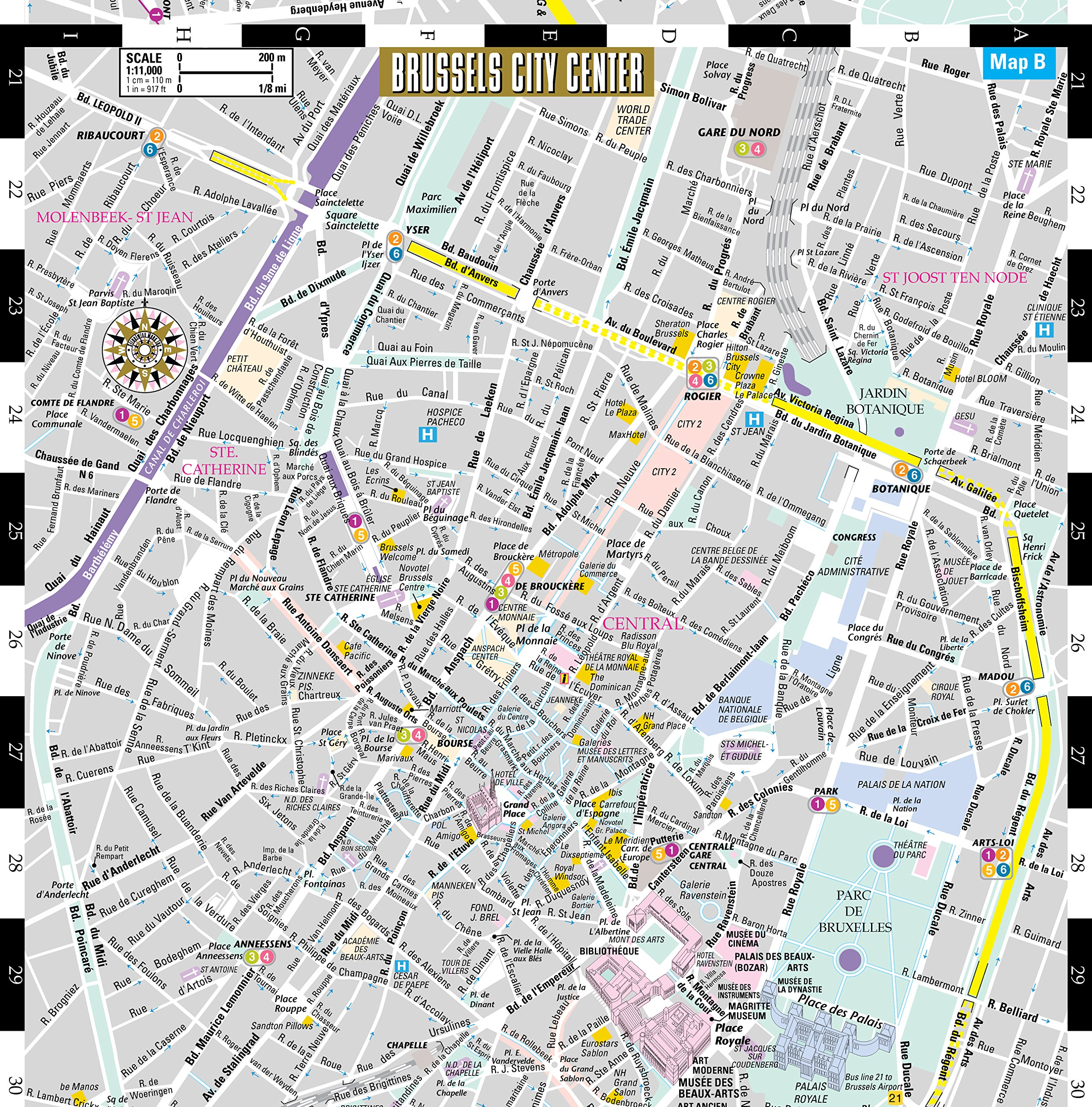 Streetwise Brussels Map Laminated City Center Street Map of