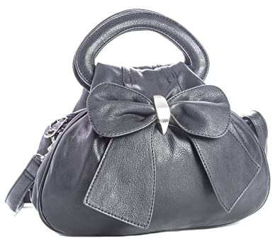 BHSL Womens Bow Detail Top Multiple Zip Pockets Chic Roomiest Little Small  Bag with Elephant Charm - Black  Amazon.co.uk  Shoes   Bags c5cb991ff48f9