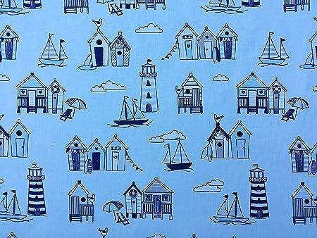 NAUTICAL  BUNTING  Boys Nursery Seaside Beach Hut Red White Blue Cotton Fabric