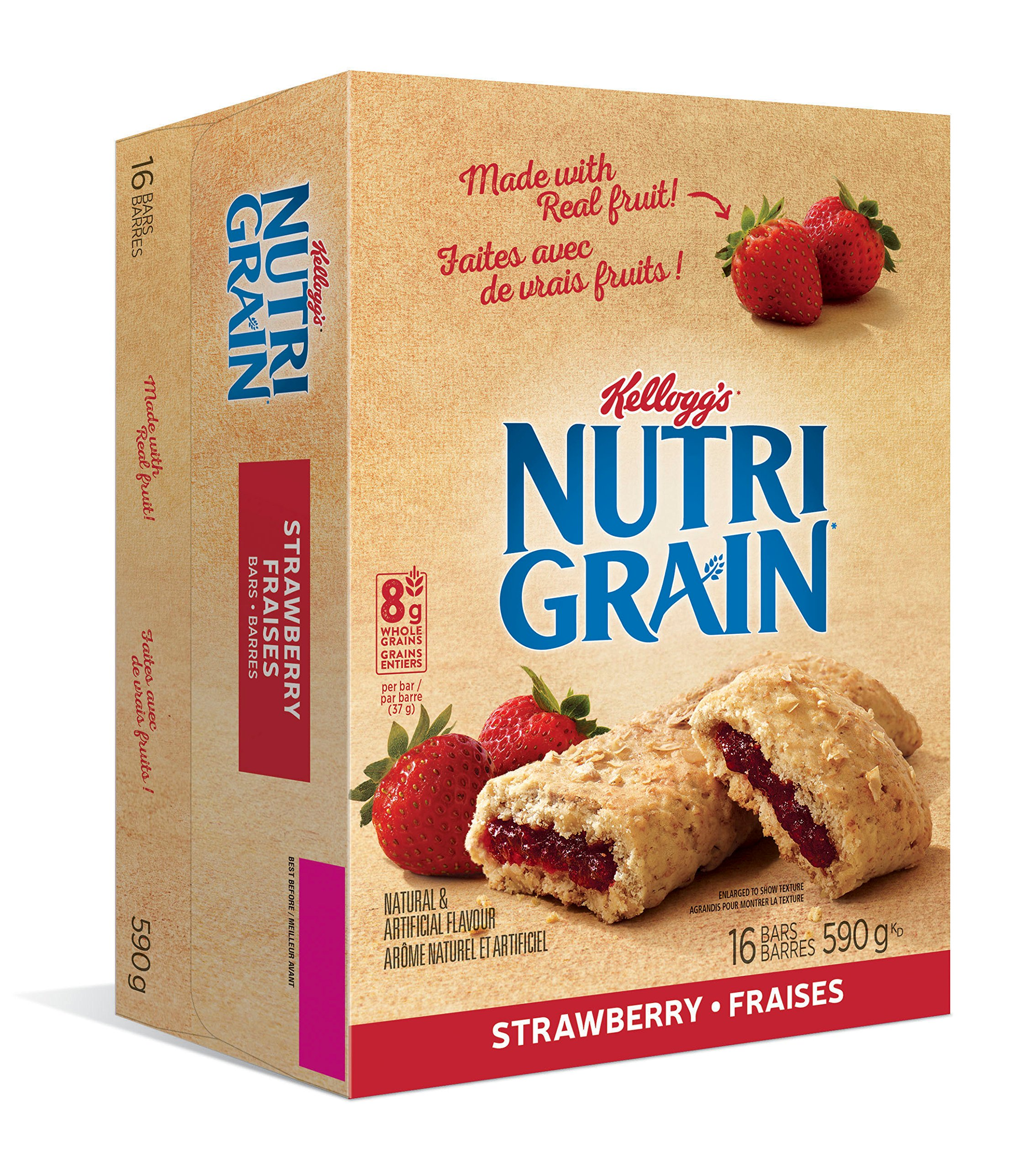 Kellogg's Nutri-Grain Strawberry Flavour 16 bars, 590g/20.81 Ounce box {Imported from Canada} by Kellogg's
