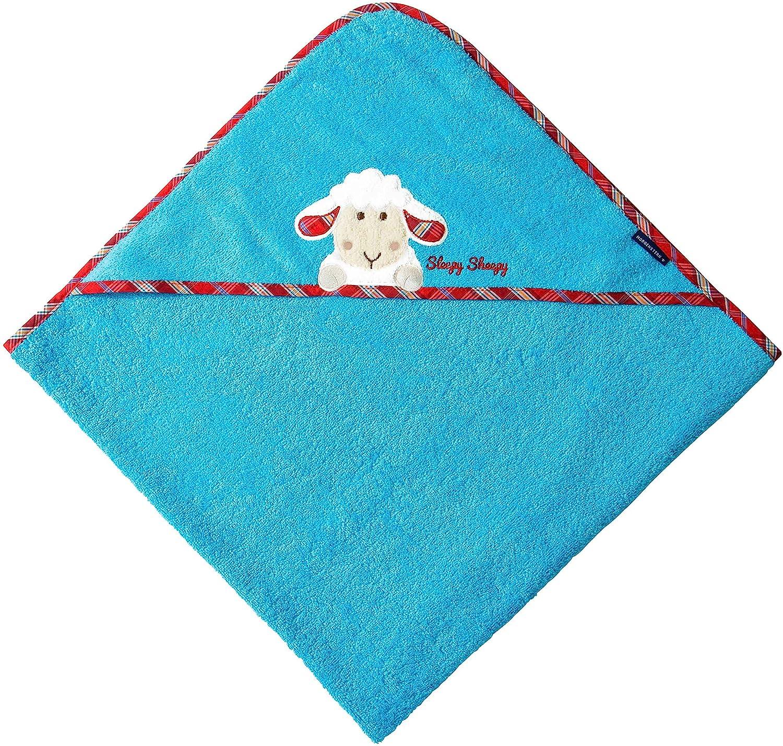 Morgenstern Kapuzenhandtuch 100 x 100 cm Farbe blau Sch/äfchen Stickerei 100/% Baumwolle Sleepy Sheepy
