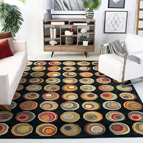 Safavieh Soho Collection SOH921A Handmade Modern Abstract Black and Multi Premium Wool Area Rug 5 x 8