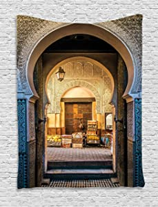 """Ambesonne Moroccan Tapestry, Typical Moroccan Door to Old Medina Mediterranean Historical Arch Entrance Photo, Wall Hanging for Bedroom Living Room Dorm, 60"""" X 80"""", Blue Beige"""
