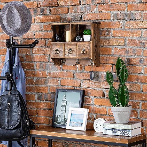Amazon.com: MyGift - Estantería de madera con 3 cajones y ...