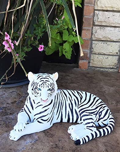 Ebros Large Exotic White Siberian Ghost Tiger at Rest 15.5″ Long Statue Jungle Apex Predator Home Garden Outdoor Patio Decor Figurine Alaskan Rare Breed Tigers Tigress Cubs Realistic Resin Sculpture