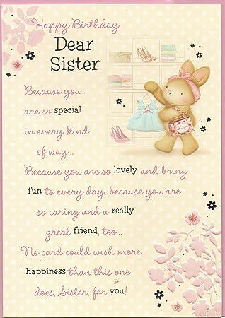 Sister Birthday Card Happy Birthday Dear Sister Rabbit Dress