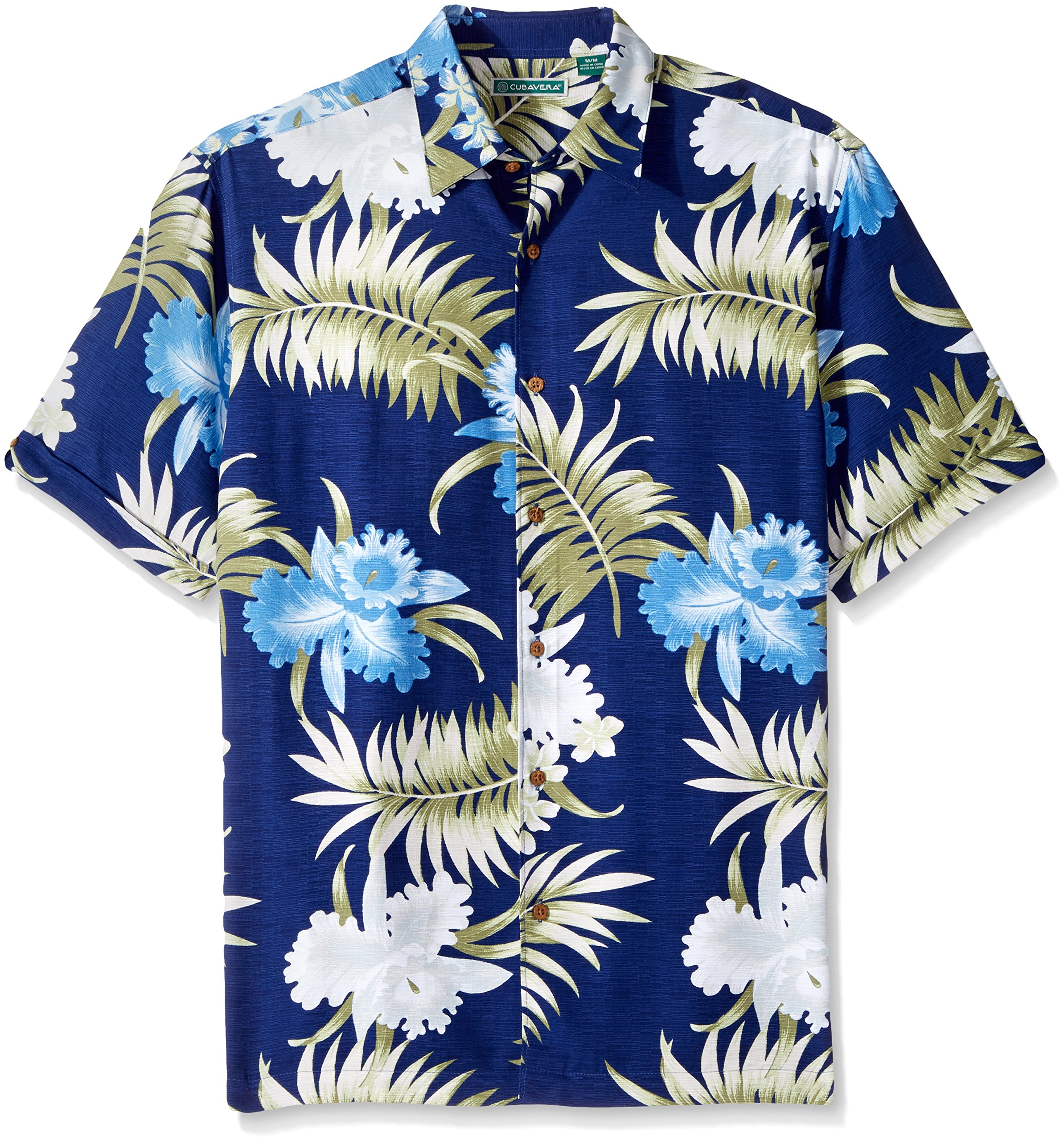 Cubavera Mens Short Sleeve 100/% Rayon Point-Collar Tropical Floral Print Shirt