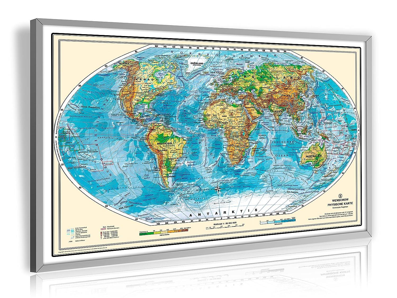 Pinnwand Weltkarte Deluxe 90 x 60 cm, im Alurahmen, inklusive 20 ...