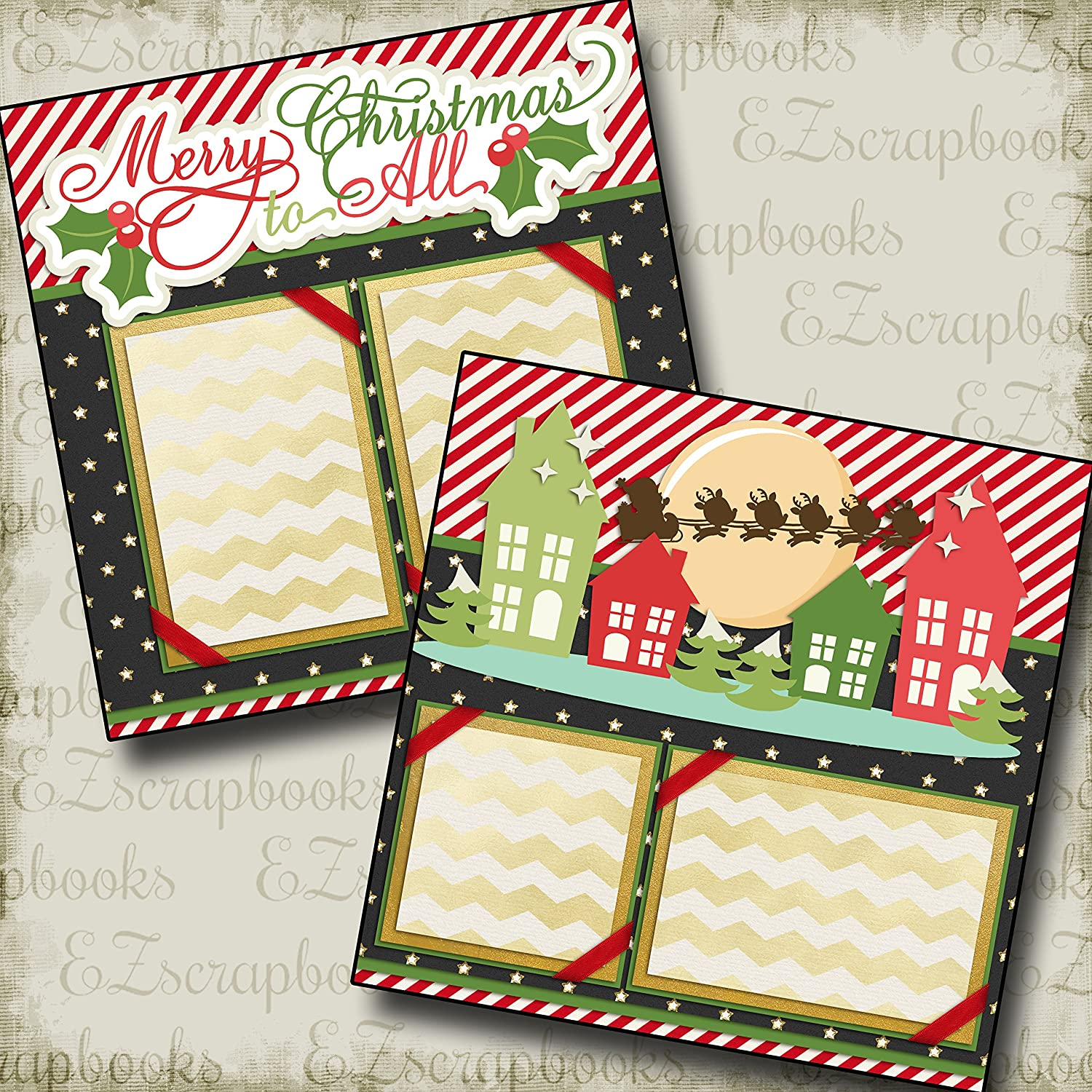 Merry Christmas  Premade  12x12 Scrapbook Pages for your FAMILY and Album