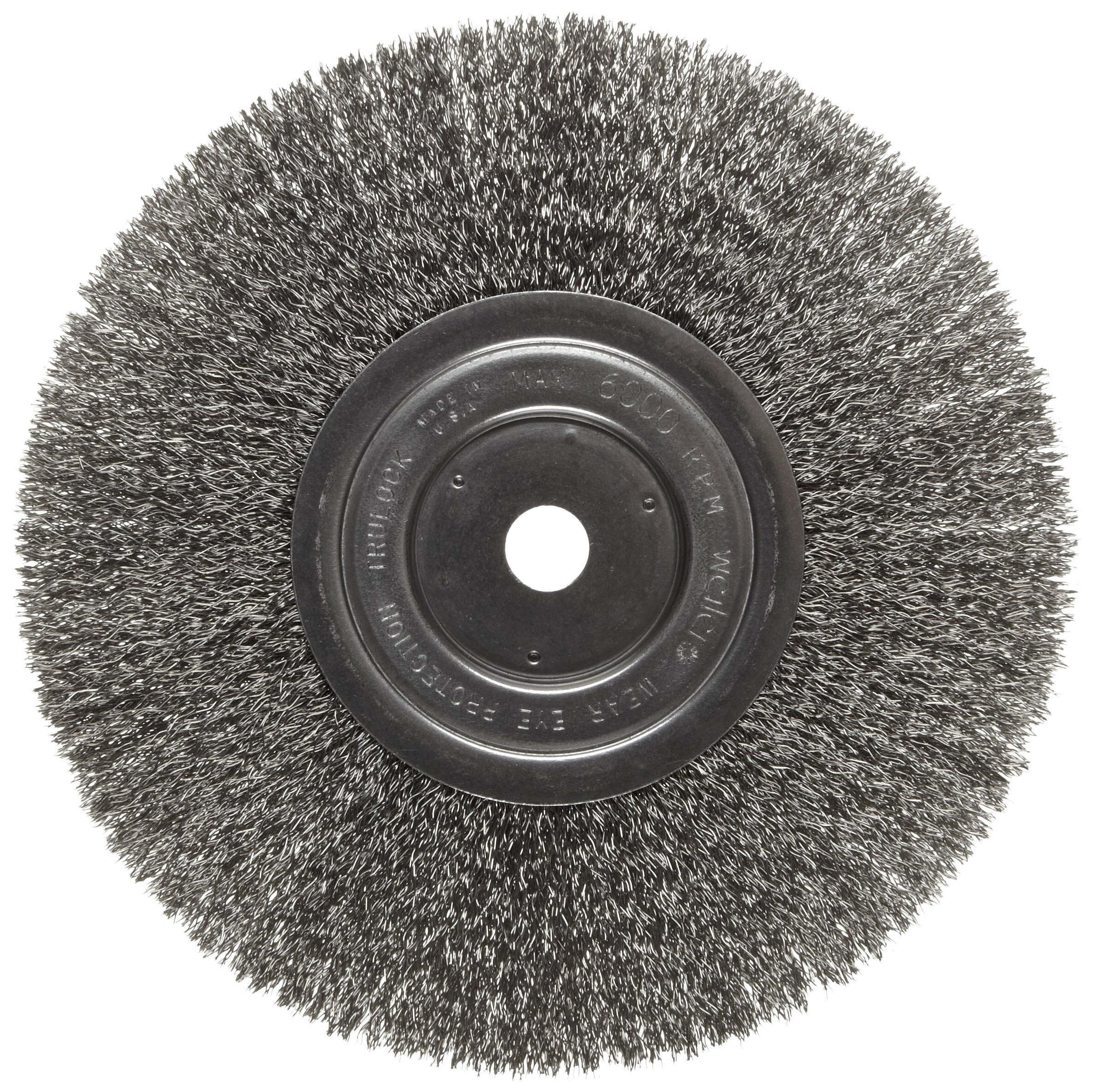 Weiler Trulock Narrow Face Wire Wheel Brush, Round Hole, Stainless Steel 302, Crimped Wire, 8'' Diameter, 0.0118'' Wire Diameter, 5/8'' Arbor, 2-1/16'' Bristle Length, 3/4'' Brush Face Width, 6000 rpm by Weiler