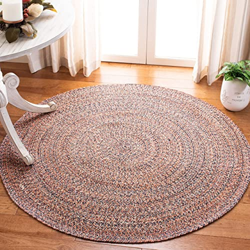 Safavieh BRD701P-6R Braided Collection BRD701P Handmade Terracotta and Ivory Premium Cotton Area 6' Round Rug,