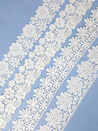 3//4 inch wide floral Lace trim antique white//gold selling by the yard