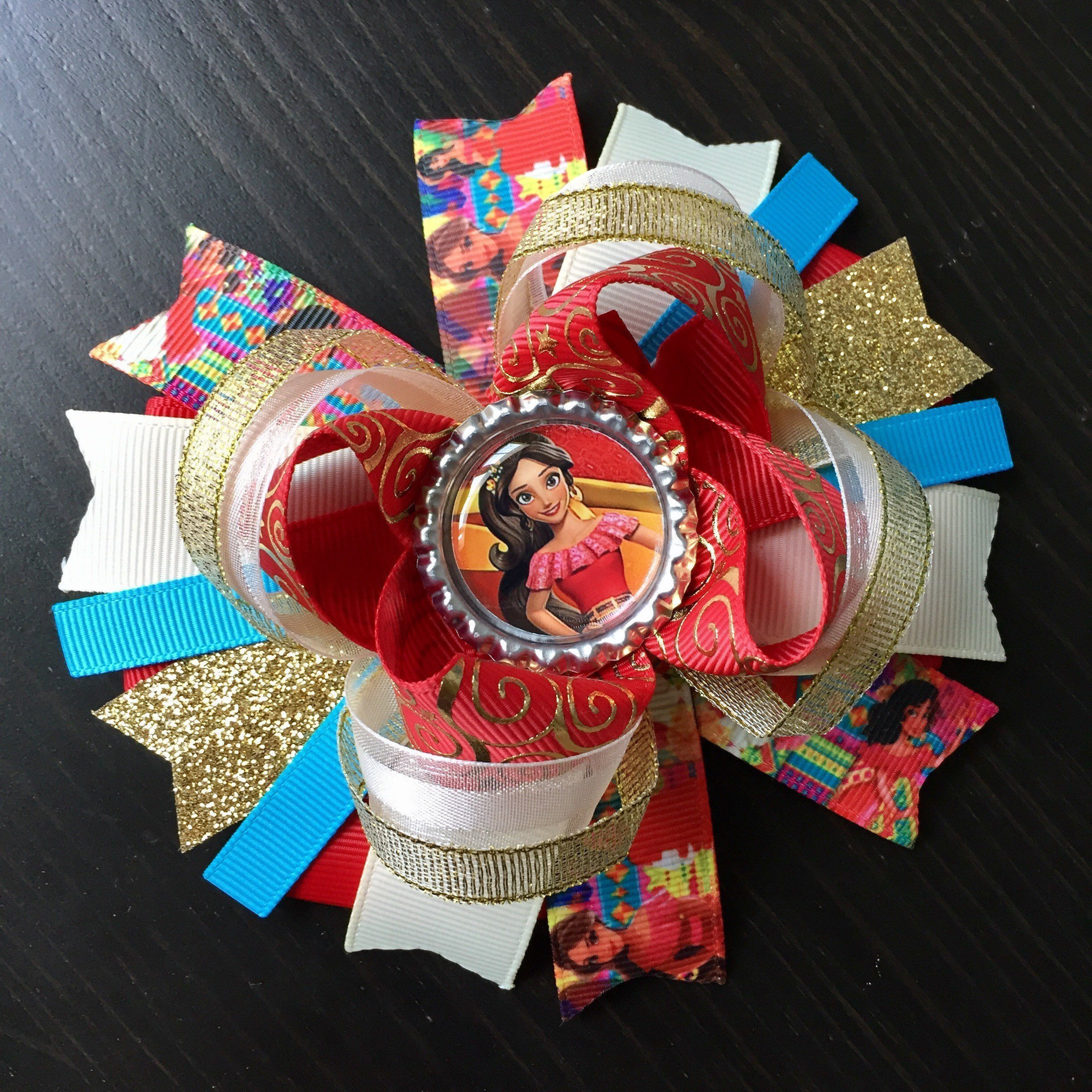 Princess Elena of Avalor Hair Bow, Red and Gold Princess Elena of Avalor Boutique Handmade Layered Hair Bow