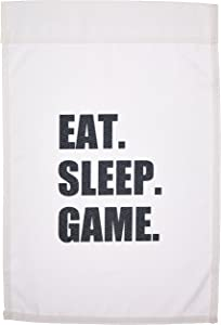 3dRose fl_180406_1 Eat Sleep Game-Fun Gifts for Gamers-Black Text-Video Pro-Gamer Garden Flag, 12 by 18-Inch