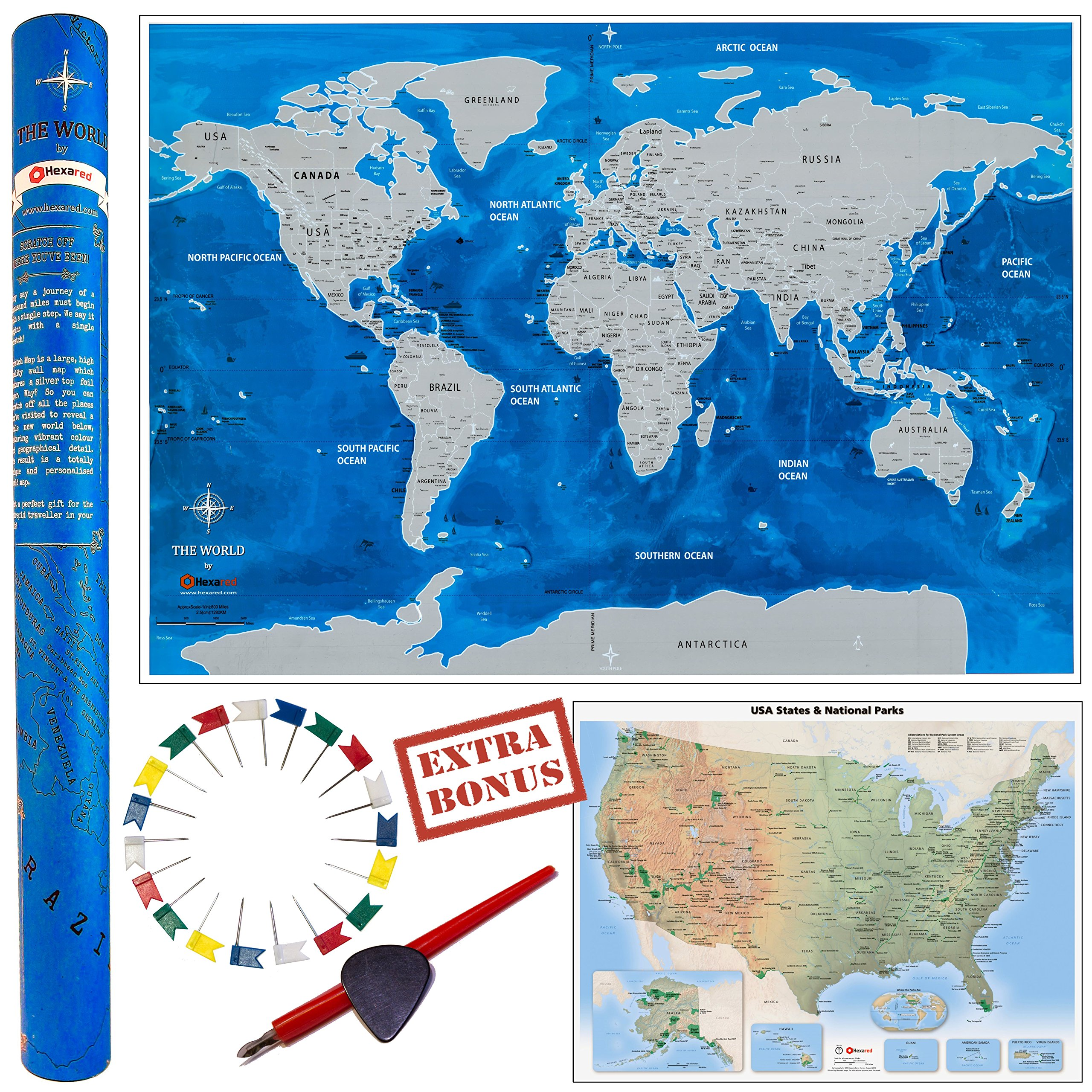 Scratch off world map laminated watercolor 2 types scratchers 30 scratch off world map laminated watercolor 2 types scratchers 30 flag pins gumiabroncs Images