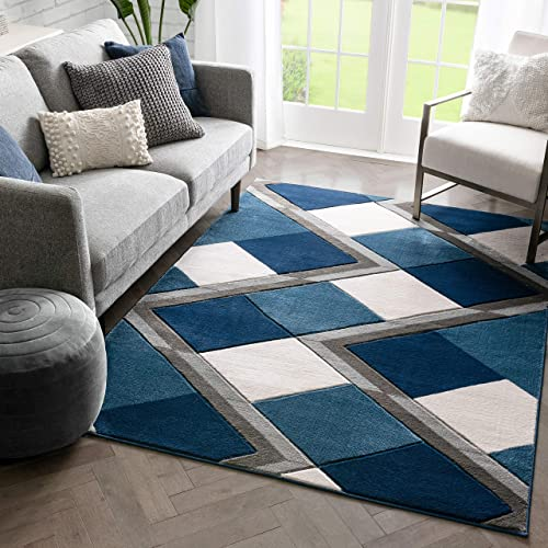 Well Woven Naya Blue Modern Geometric Diamond Boxes Pattern Area Rug 8×10 7'10″ x 10'6″