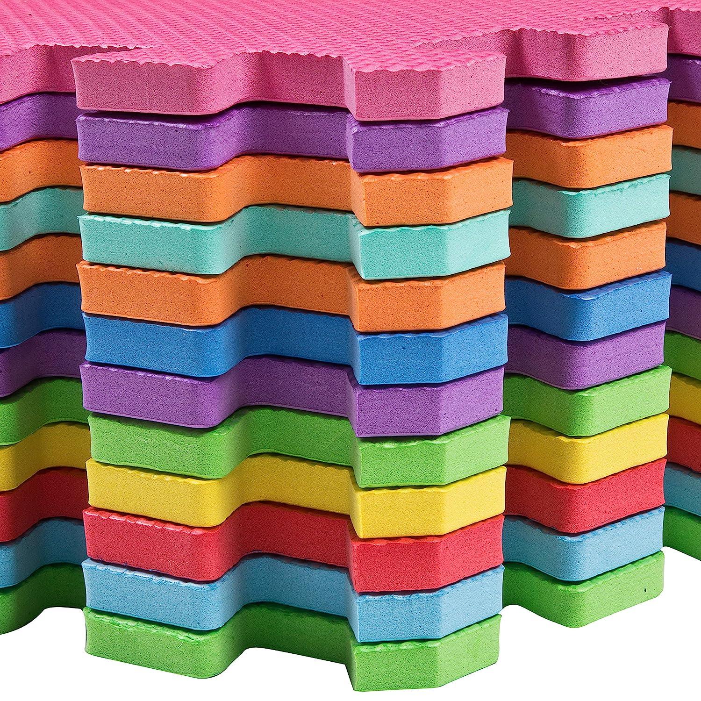 12 Pack EVA Interlocking Floor Mats for Children Edukit Foam Play Mat Tiles Multicoloured Foam Tiles