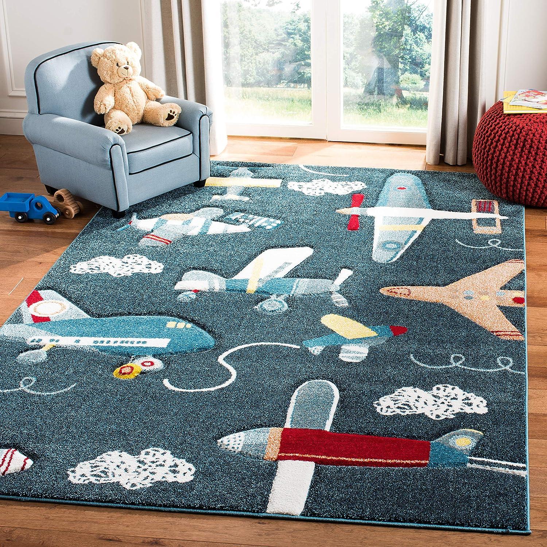 Safavieh Carousel Kids Collection Crk167n Airplane Nursery Playroom Area Rug 4 X 6 Navy Ivory Furniture Decor
