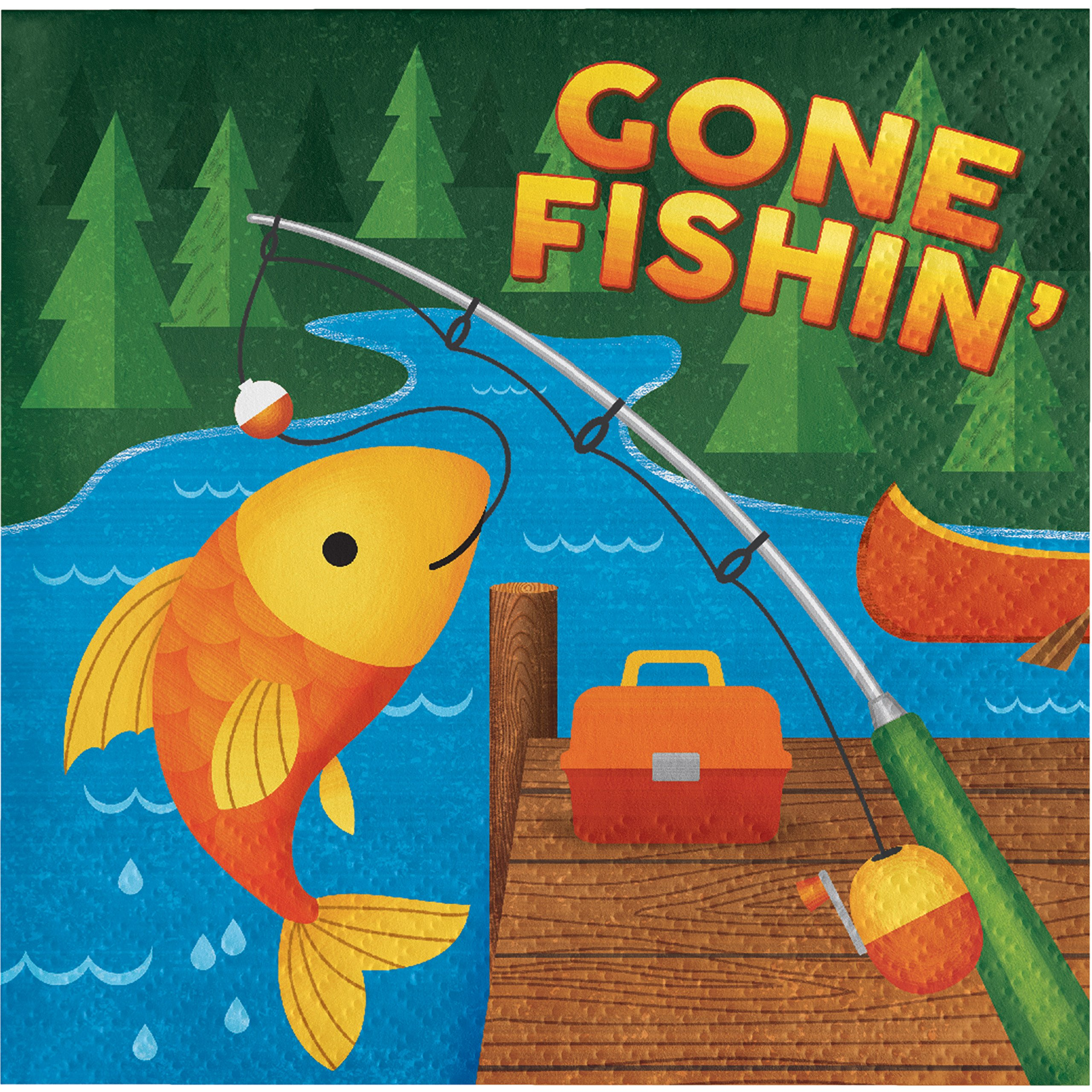 Camping Gone Fishing Napkins, 48 Count