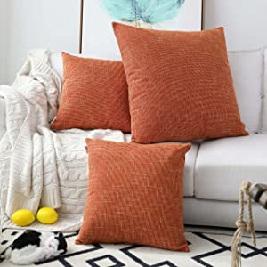 Kevin Textile 2 Packs Decorative Hand Made Faux Linen Throw Pillow Cover Cushion Case for Floor with Invisible Hidden, 26-inches, Orange