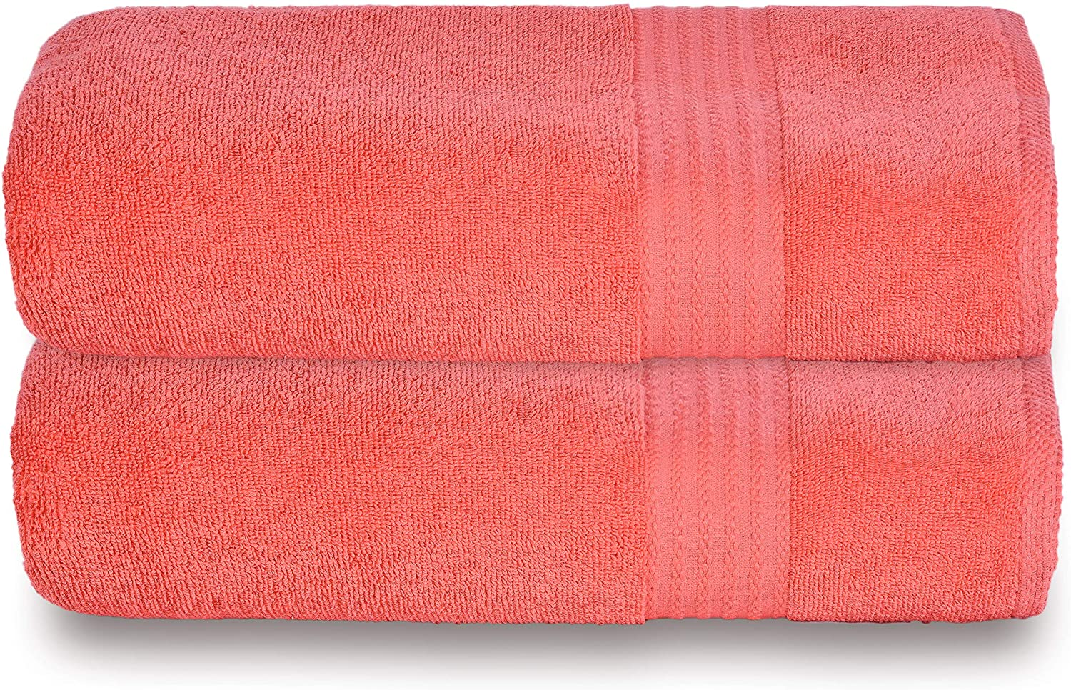 Glamburg Premium Cotton Oversized 2 Pack Bath Sheet 35x70 - 100% Pure Cotton - Ideal for Everyday use - Ultra Soft & Highly Absorbent - Machine Washable - Coral Living: Kitchen & Dining