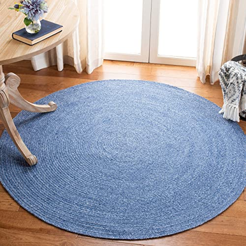 Safavieh Braided Collection BRD800M Hand-woven Area Rug, 6 Round, Blue