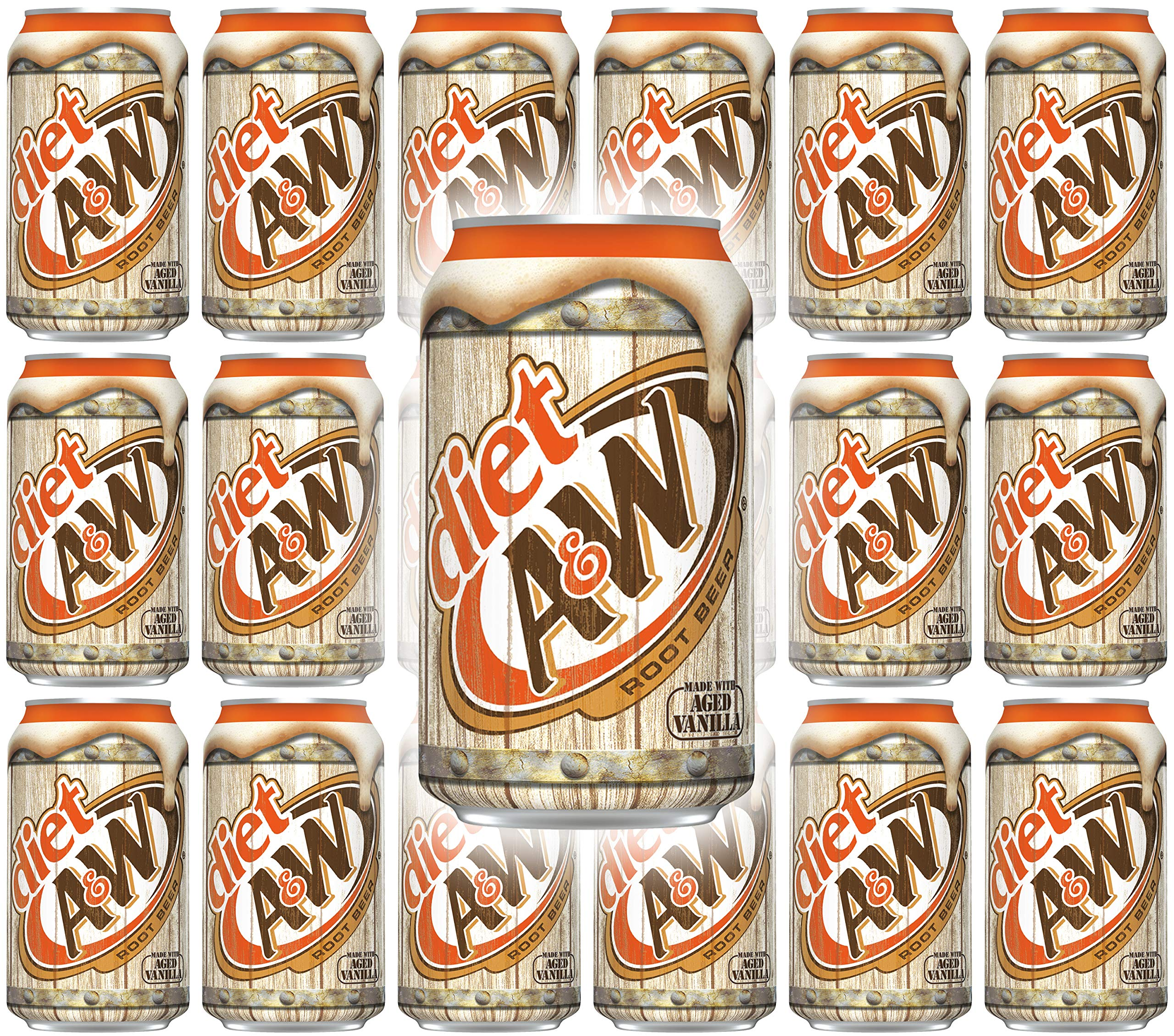 A&W Diet Root Beer, 12 Fl Oz Can, (Pack of 18, Total of 216 Fl Oz)