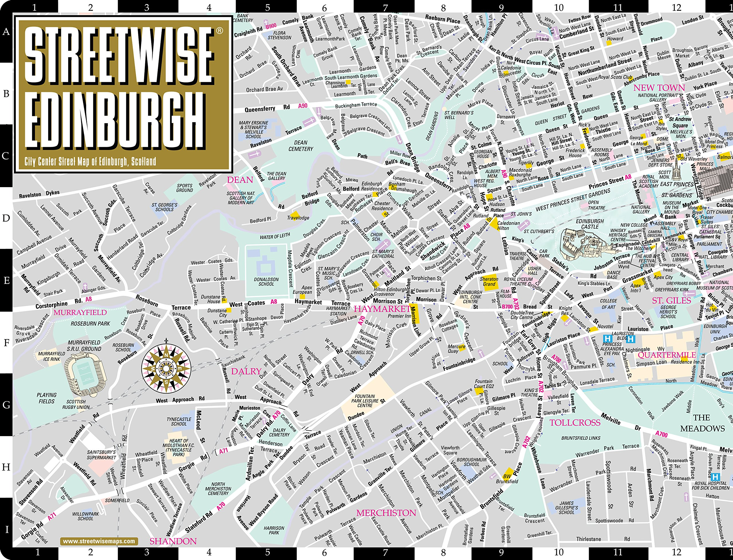 Streetwise Edinburgh Map - Laminated City Center Street Map ...