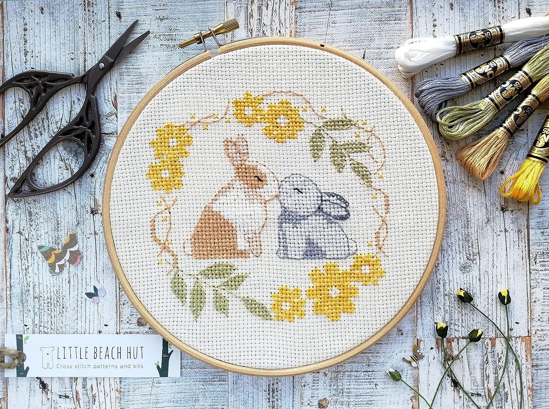 Kissing rabbits cross stitch kit, cute love embroidery pattern