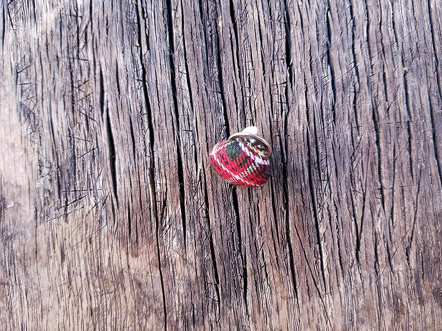 accessories for men lapel scatter pin tartan plaid Tie Tack red and green plaid