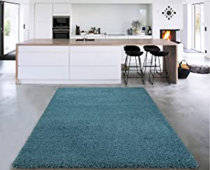 """Cozy Shag Collection Turquoise Blue Solid Shag Rug (3'3""""X4'7"""") Contemporary Living and Bedroom Soft Shaggy Area Rug"""