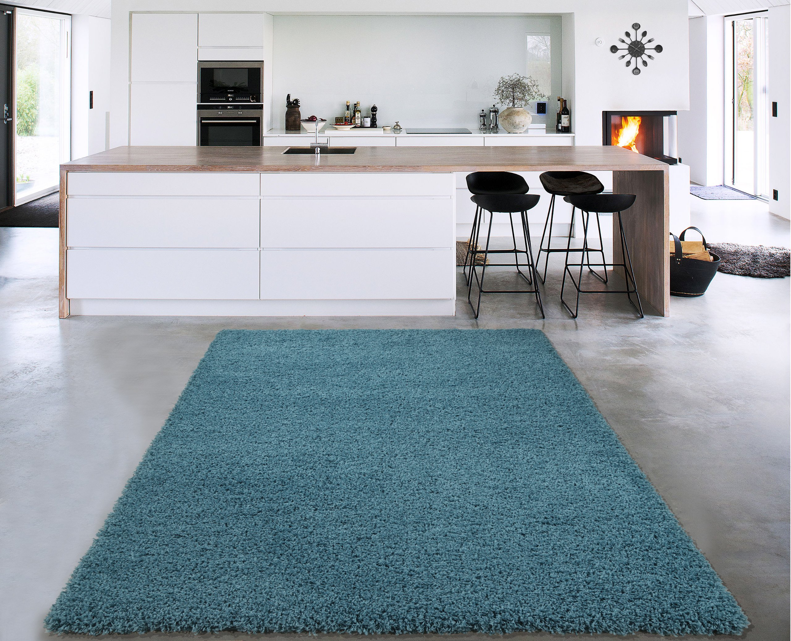 Sweet Home Stores Cozy Shag Collection Solid Shag Rug Contemporary Living & Bedroom Soft Shaggy Area Rug, 79'' L x 111'' W,  Turquoise Blue by Sweet Home Stores
