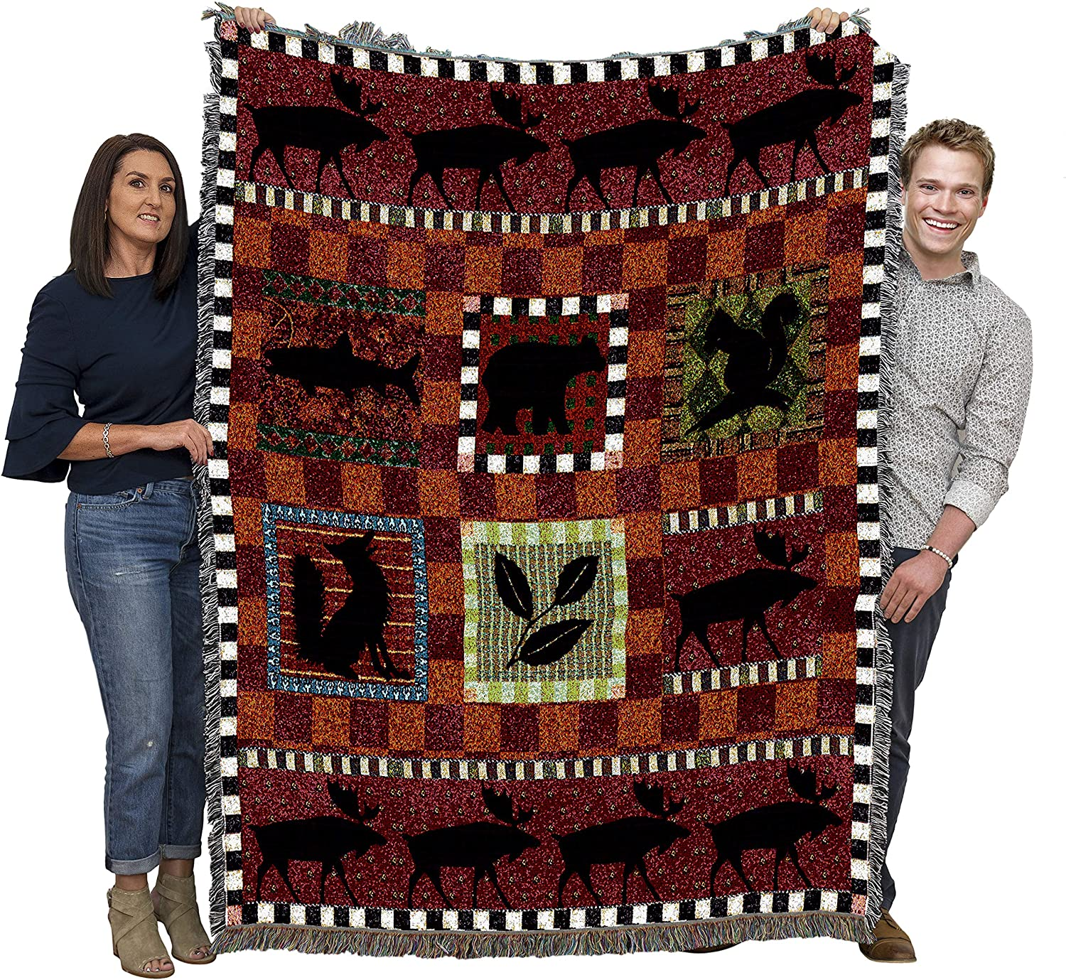 B001GDU8A2 Pure Country Weavers Lodge Cabin Hunting Woven Blanket Large Soft Comforting Lodge Décor Throw 100% Cotton Made in The USA 72x54 A1Dy7l3XGCL