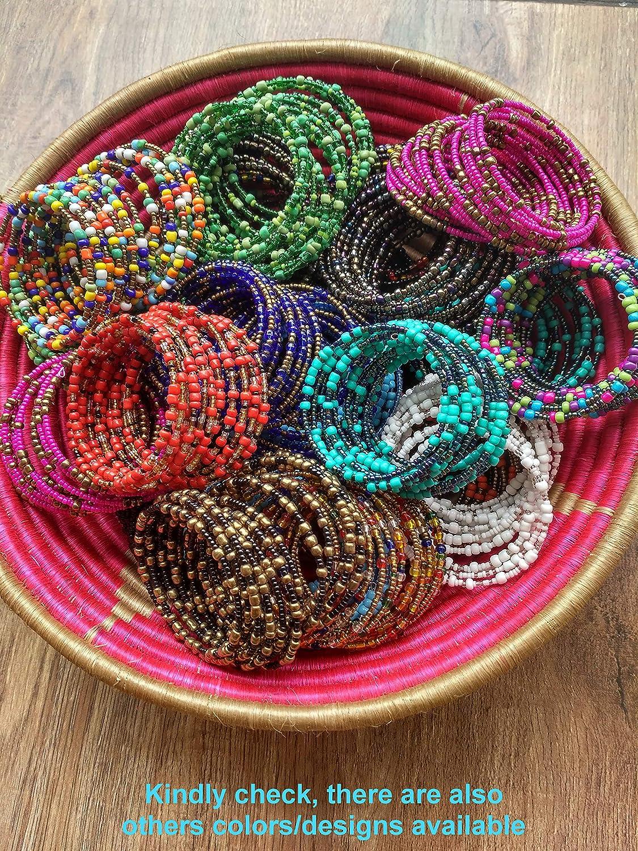 KB50 Set of 2 African Bracelets for Women Maasai Jewelry Beaded Wrap Bracelet Metallic//Different Shades of Bronze//Berry Blue//Eggplant Purple Handmade in Kenya Black