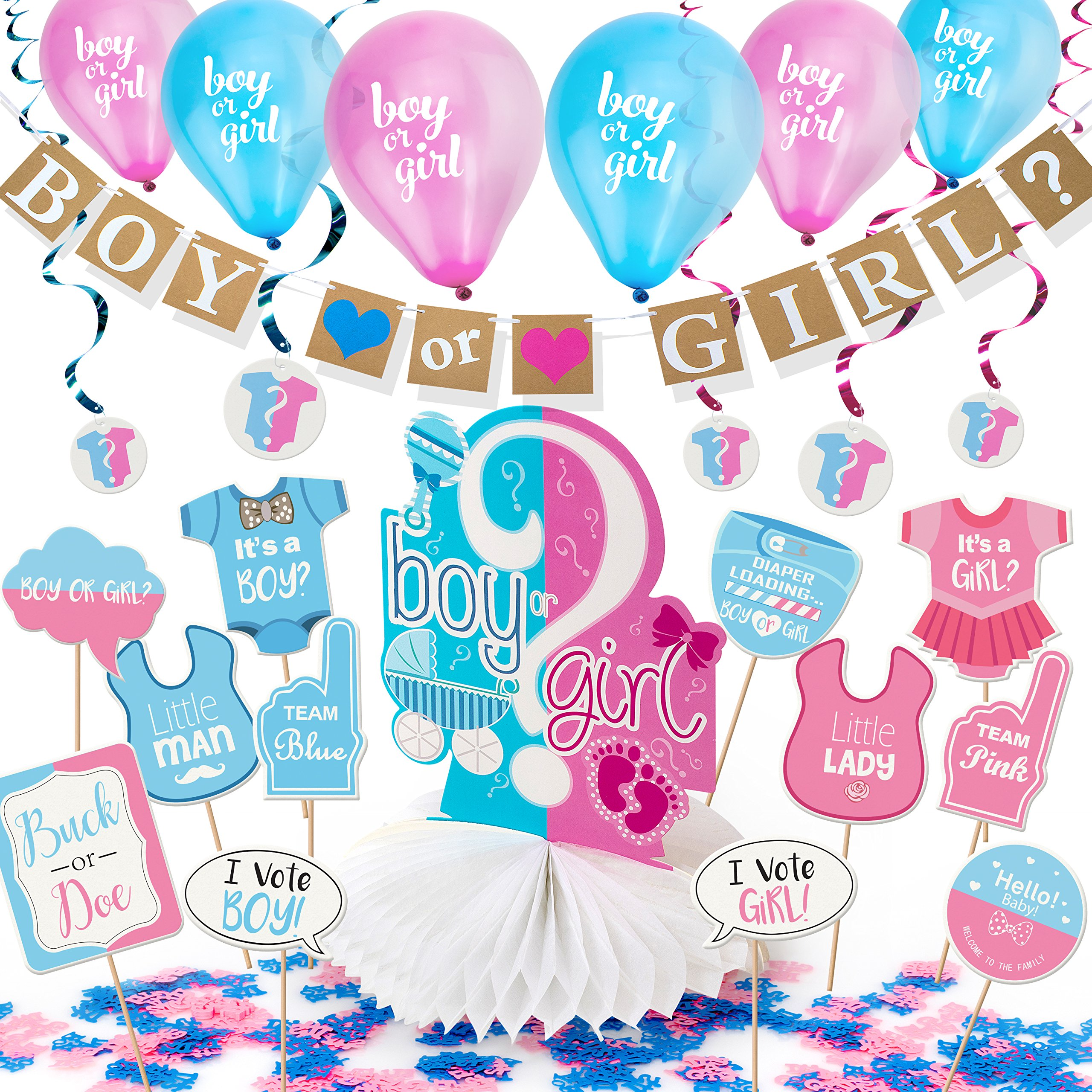 """ARTIT Gender Reveal Party Decoration Supplies Baby Shower Pregnancy Announcement Kit 31 Pack """"Boy or Girl"""" Favors Banner Centerpiece Pink Blue Balloons Hanging Swirls Tablecloth Photo Props Confetti by ArtIt"""