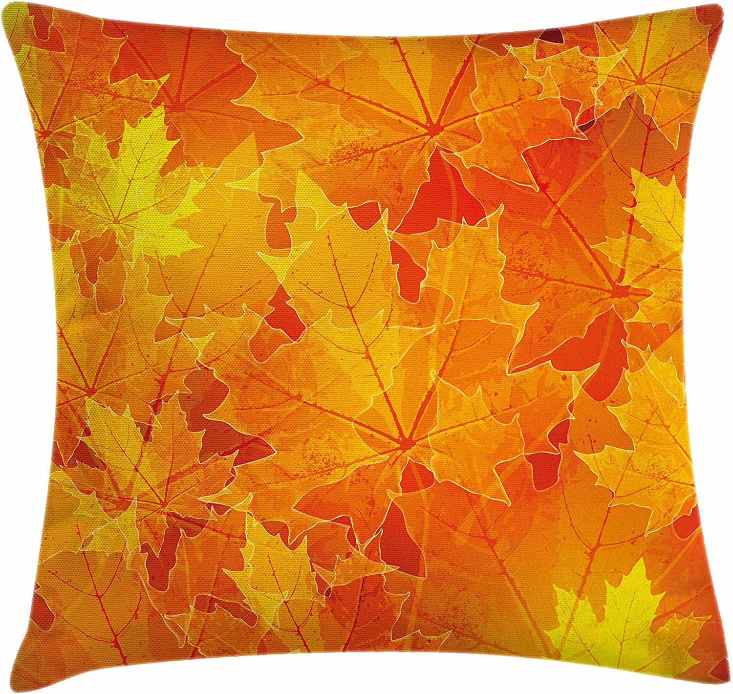 "Ambesonne Fall Throw Pillow Cushion Cover, Seasonal Maple Tree Leaves Botanical Foliage Vibrant Floral Forest Texture Image, Decorative Square Accent Pillow Case, 24"" X 24"", Mustard Orange"