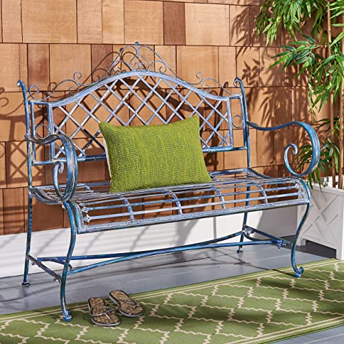 Safavieh PAT5017C Outdoor Collection Abner Antique Blue Wrought Iron 46-inch Garden Bench