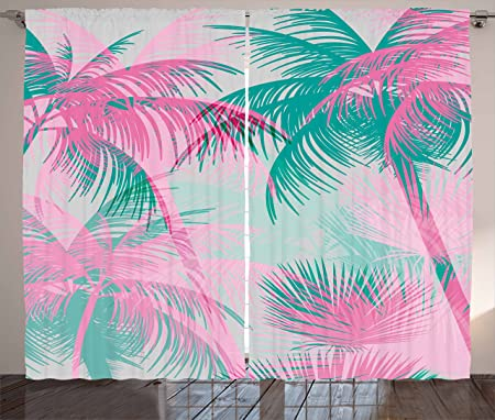 Palm Leaf Curtains by Ambesonne, Beach Party Theme Vibrant ...